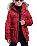 Jungen Jacke Mantel Warm Lang Parka Winterjacke Kunstfell Kapuzen Outwear Wintermantel Oberbekleidung Rot 140CM