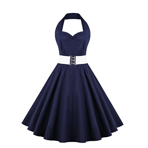 E-Girl EM128818D Vintage pin-up 50's robe de soirée,bal cocktail Rockabilly Swing,S-XXXXL Bleu