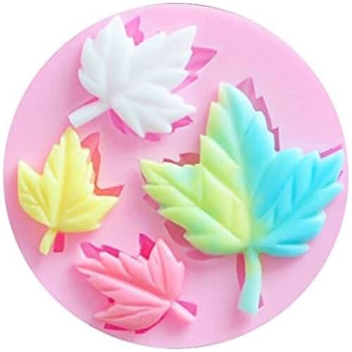 figuras kawaii porcelana fria SHINA Molde de silicona para decorar tartas, diseño de hoja de arbol para dulces, azucar, varios colores