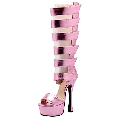 ENMAYER Femmes PU Matériel Gladiator Sexy Plate-forme Ouverte Talon Stiletto Super High Heels Party Shoes Rose