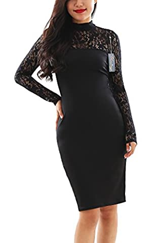 YMING Women's Long Sleeve Casual Business Bodycon Party Lace Dress,BLACK,M