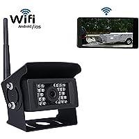 Camecho Digital Wifi Cámara Trasera para Coche Cámara de copia de seguridad inalámbrica 12 V-24 V 28 IRS visión nocturna 120 ° ángulo Compatible with ...