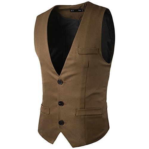 Zhuhaitf doux Men's 3 Buttons Single-Breasted Button Down Dress Suit Vest Waistcoat Kaki