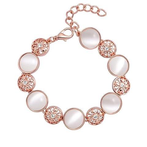 Chaomingzhen Charms Roségold Vergoldete Kristall und Opal-Runde Armband für Damen Modeschmuck (Opal Modeschmuck)
