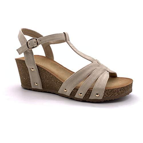 10f5538c59 Angkorly - Scarpe Moda Sandali Mules Zeppe Comodo maneggevole Comfortable  Donna Cinghie Borchiati Sughero Tacco Zeppa