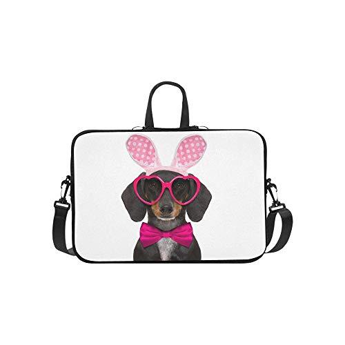 Dachshund-Wurst-Hund Bunny Easter Ears Stockfoto Muster-Aktenkoffer-Laptop-Taschen-Bote Shoulder Work Bag Crossbody-Handtasche für das Geschäftsreisen