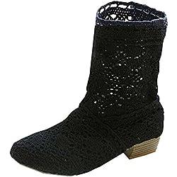 Minetom Mujer Verano Otoño Sandalias de Cuña Platform Tobillo Boots Respirable Encaje Hueco Redonda Toe Zapatos Botas Negro EU 38