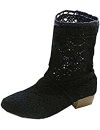 Minetom Mujer Verano Otoño Sandalias de Cuña Platform Tobillo Boots Respirable Encaje Hueco Redonda Toe Zapatos…