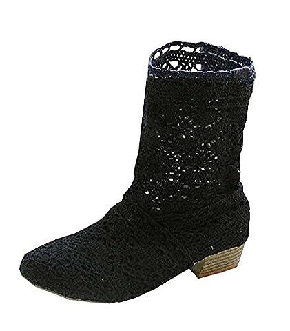 Minetom Femme Été Automne Mode Creux Dentelle Classics Courtes Bottes Femmes Bottine Bloc Talon Mid-calf Boots Noir EU