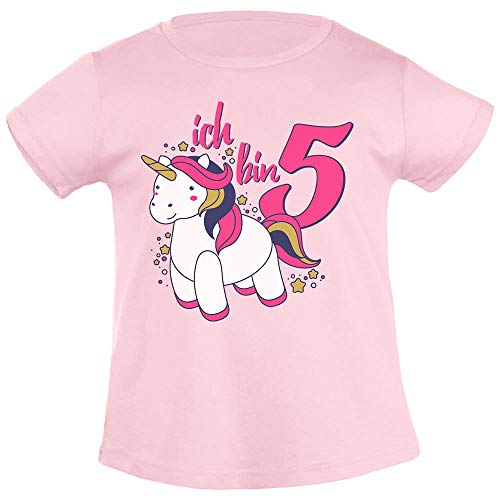 Mädchen Shirt Geburtstag (Ich Bin Fünf Einhorn Geburtstags Mädchen Mädchen T-Shirt 118/128 (6-8J) Rosa)