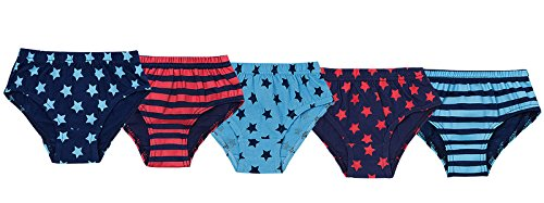 Lora Dora Kids Boys 5 Pairs Briefs Stripes and Stars 5-6
