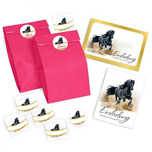 JuNa-Experten 8 Einladungskarten Geburtstag Kinder Pferd für Mädchen Einladungen Kindergeburtstag Geburtstagseinladungen incl. 8 Umschläge, Tüten / rosa, 8 Aufkleber