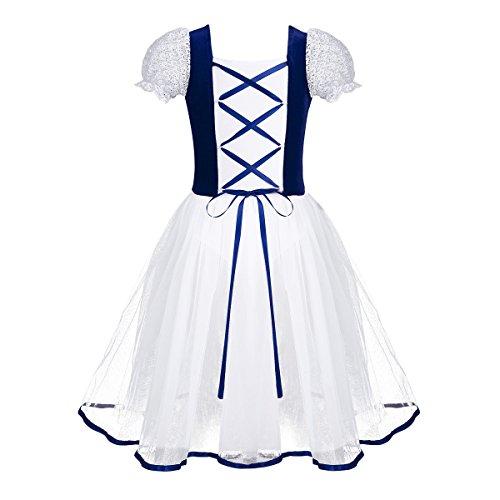 Iefiel vestito da balletto ragazze bambine leotard bodysuit body ginnastica danza classica tutu aderente spettacolo ballo pizzo elegante maniche corte gonna mesh blu 9-10 anni