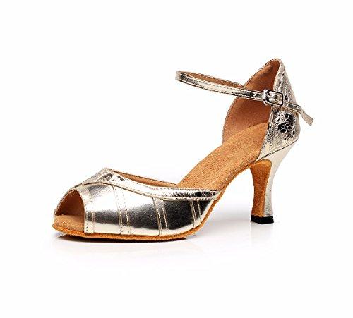 JINGXINSTOREDonna Scarpe da ballo salsa latino pu sandali tacchi Professional Indoor Oro