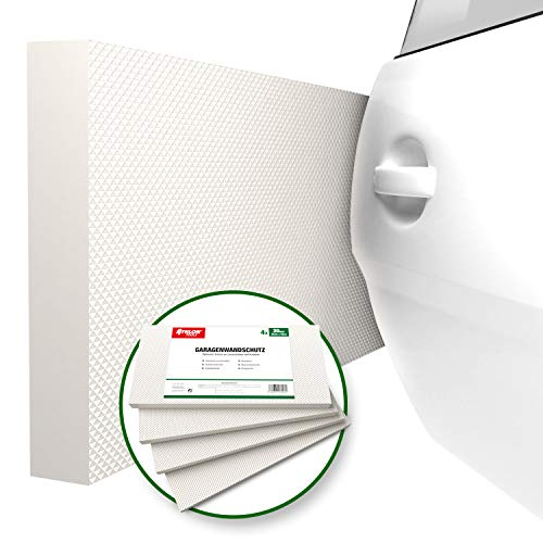 ATHLON TOOLS 4x MaxProtect Premium Garagen-Wandschutz selbstklebend | je 40 x 20 x 2,0 cm | Rammschutz Prallschutz Garagenpolster Türkantenschutz (Weiß)