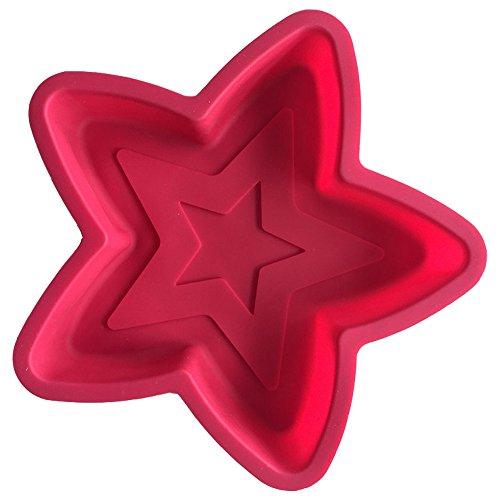 Große Doppelschicht Pentagram Star Shapesilicone Schimmel Fondant Kuchen Kuchendekoration EIS Backblech Schokoladenform (1 Stück)