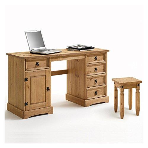 IDIMEX Schreibtisch TEQUILA im Mexico Stil Computertisch Mexiko Möbel, Kiefer massiv gewachst mit Hocker