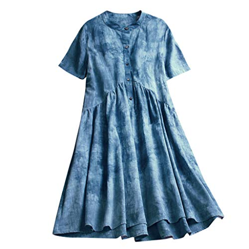 CUTUDE Damen Sommer Frauen Druck Kurzarm Mitte Wadenkleid Maxi Kleid (Blau, Large)