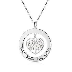 Lebensbaum Namenskette 925 Sterling Silber, Baum Kette mit Gravur, Familien Stammbaumkette Herz