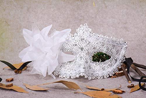QTJKH Horror Maske Venezianische Maskerade Spitze Strass Pailletten Lily Princess Seite Blume Halloween Ball Party Feder Maske