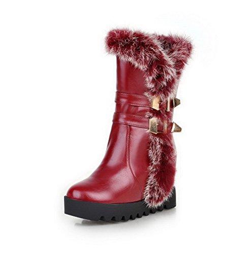 AgooLar Damen Ziehen auf Hoher Absatz Blend-Materialien Rein Mitte-Spitze Stiefel, Rot, 39