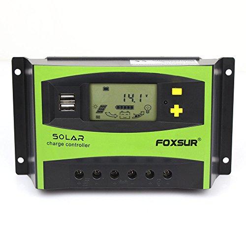 FOXSUR Controlador de carga solar 40A PWM 12V 24V Regulador de descarga...