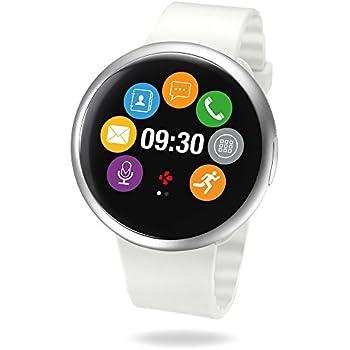 MyKronoz ZeRound2 Smartwatch avec écran couleur tactile, microphone et haut-parleur intégré - Argenté / Blanc