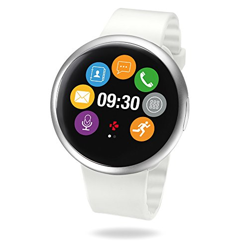 MyKronoz ZeRound2 Smartwatch with Color Touchscreen, built-in Microphone and Speaker – Silver/White