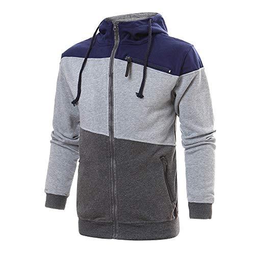 Riou Herren Sweatjacke Kapuzenjacke Männer Herbst Winter Patchwork Zip Hoodie Pullover Sweatshirt (M, Grau) - Patchwork Zip