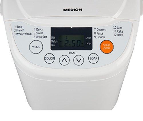 MEDION Brotbackautomat 580 Watt, 700-1000g, 12 Backprogramme, 3 Versch. Bräunungsgrade, Warmhaltefunktion, MD 14752 weiß