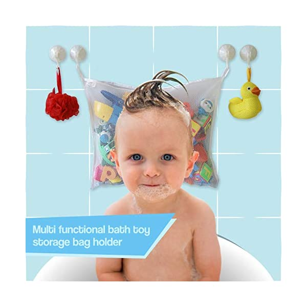 COSY ANGEL Kids Premium Baby Bath Toy Storage -Toddlers Large Toy Organiser Bag for Baby Boys & Girls and Shower Caddy Bonuses: 4 Heavy Duty lock Suction Cups plus 4 Bath Toys