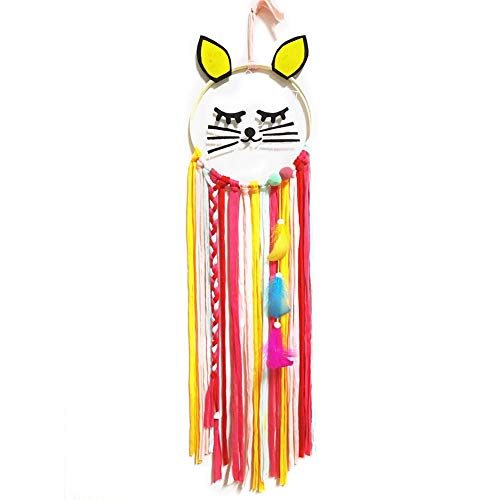 Attrape Reve Geant Blanc Attrape-Rêves en forme de chat, Style Bohémien Nordique, Tissé à la Main, Gland Décorations Suspendues pour Chambre d'enfant décoration de chambre