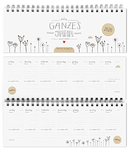 Design Tischkalender 2020 von Eine der Guten | Ein ganzes Jahr | Querformat, Weiß, umweltfreundlich aus Recyclingpapier | Wochenplaner & Terminplaner m. Feiertage und Schulferien | Vintage Design