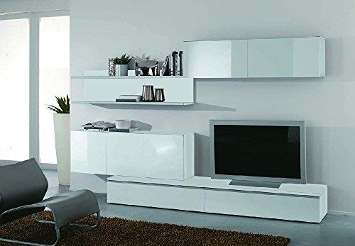 Moderne Wohnwand weiß Hochglanz lackiert