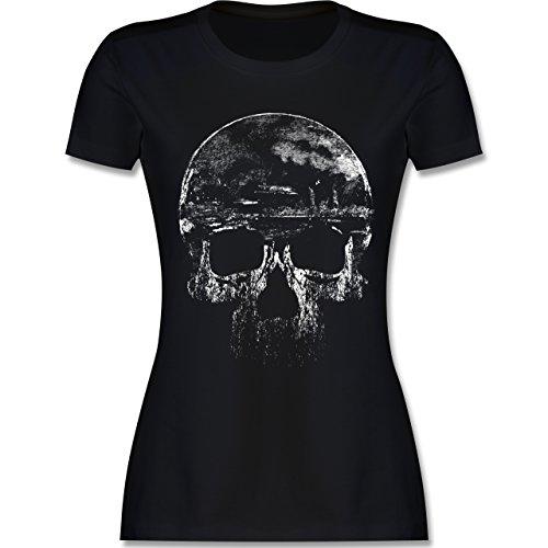 Damen-biker-t-shirts (Biker - Vintage Totenkopf - M - Schwarz - L191 - Das Beste Frauen Shirt von #RedSkullBikerFashion)