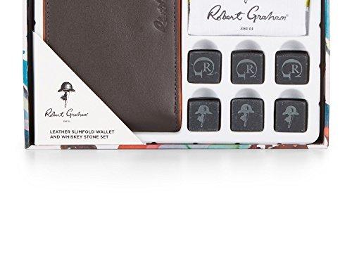 Robert Graham Men's Leather Slimfold Wallet & Whiskey Stone Set