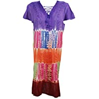Mogul Interior Women Beach Coverup Dress Tie- Dye Purple Boho Chic Gypsy Dress M/L