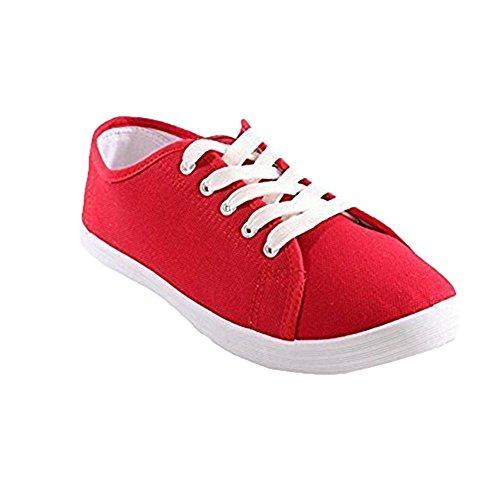 Damen Stiefel Damen Schuhe Pumps Wohnungen Plimsoll Leinwand Schnüren Oben  Turnschuhe Turnhalle Größe 3-8