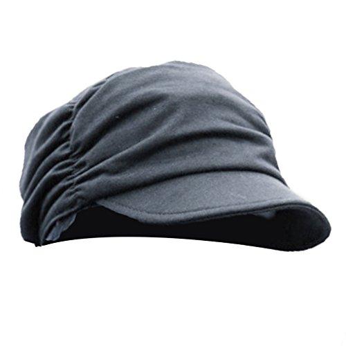 QHGstore Cappelli con visiera da donna con stile grinza Nero Piccoli ferro Cappelli Decorazione grigio scuro