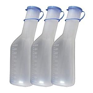 Urinflasche 1Ltr. für Männer 10er Set (= 10 Flaschen) Urinflaschen mit Deckel Original Tiga-Med
