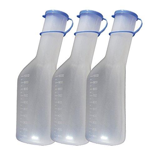 Urinflasche 1Ltr. für Männer 3er Set Urinflaschen Urinente mit Deckel Tiga-Med Qualität