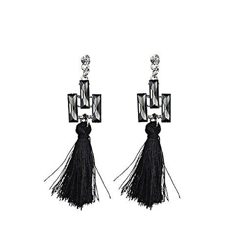 Boucles D'oreilles En Forme De Coréen Fashion Tassel Solid Color Earrings,Black-L