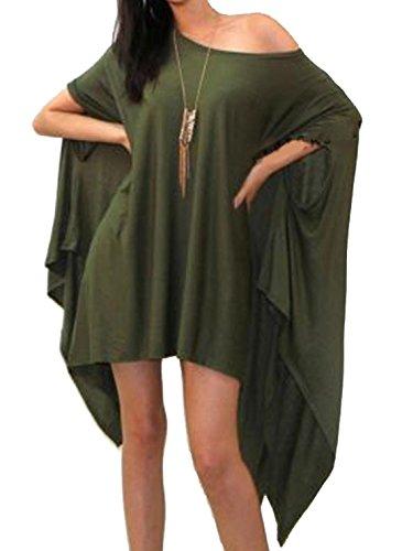 Damen Unregelmäßige Strick Langarm Volltonfarbe Longshirt Tops Minikleid Loose Rundkragen Oberteile Pulli Bluse Tunika Armee-Grün