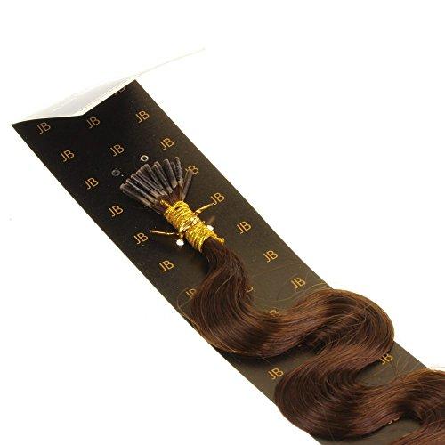 Just Beautiful Hair and Cosmetics Lot de 100 extensions en cheveux naturels Remy Micro anneaux de fixation en forme de I Brun 50 cm 0,5 g