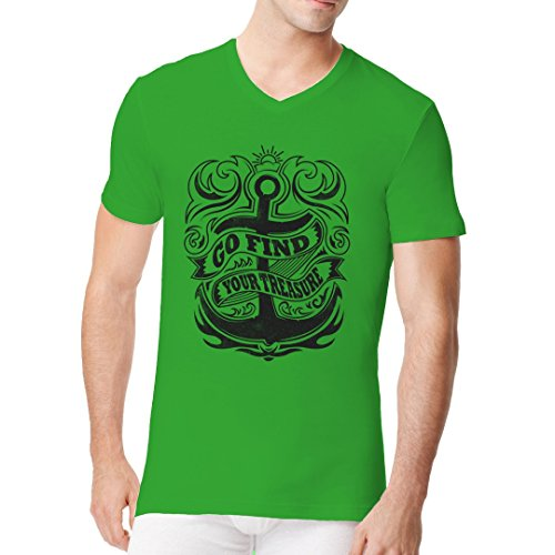 Im-Shirt - Segel Shirt: Go Find Your Treasure cooles Fun Men V-Neck - verschiedene Farben Kelly Green