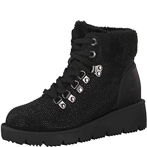 s.Oliver Damen Keilstiefeletten 26200-21,Frauen Stiefel,Boots,Halbstiefel,Wedge-Bootie,Nieten,Black,40 EU