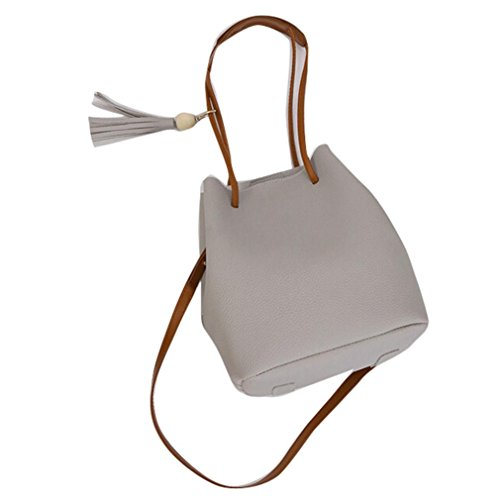 Transer Handbags & Single Shoulder Bags Ladies Artificial leather Handbag Girls Bucket Hand Bag, Borsa a spalla donna Pink 22cm(L)*26(H)*16cm(W) Grey