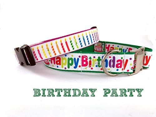 Hundehalsband Halsband Hund Geburtstag Happy Birthday bunt Kerzen Geburtstagsparty Birthday Party verschiedene Größen (S,M,L,XL) by Easy and Cooper