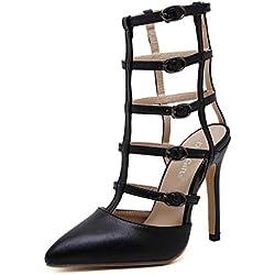 Pump Coole Stiefel 12cm Scarpin High-heeled Sandalen römischen Schuhe Frauen charmante spitze Zehe hohlen Gürtel Gürtelschnalle Kleid Schuhe Gericht Schuhe Eu Größe 35-40 ( Color : Black , Size : 37 )