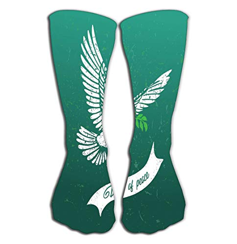 Xunulyn Hohe Socken Outdoor Sports Men Women High Socks Stocking Bird Silhouette Dove Peace Olive Branch Dove Flies Carries Branch Olive its Beak Grunge Dove Tile Length 19.7